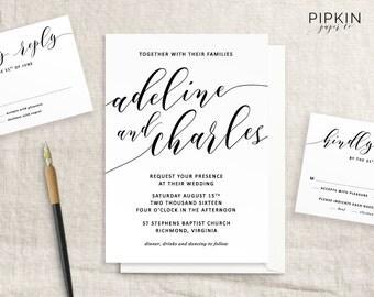 Printable Wedding Invitation | Made to Order Header | Script Invitation Template | Customizable Digital Template | Free RSVP Template