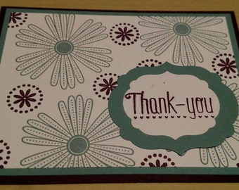 Flower Stamped Thank You Card