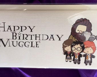 "Wizarding World Inspired Fun Simple Unique Handmade ""Happy Birthday Muggle"" Card - Perfect For Any Birthday Wizard - Gift"