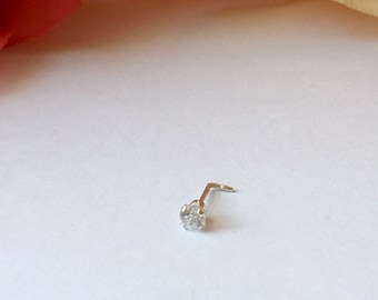 3mm Super Premium  CZ  Nose Stud . Sterling Silver or 14K SOLID Yellow Gold (not gold filled).22 gauge.