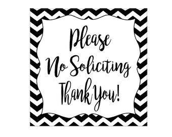 Please No Soliciting Thank You!, Perforated Adhesive Vinyl Decal for Front Door Area