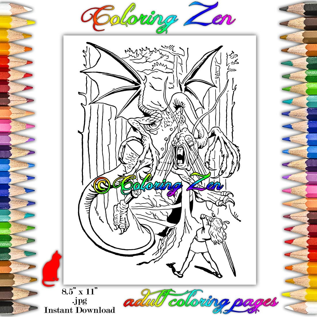 alice in wonderland fighting the jabberwocky coloring page