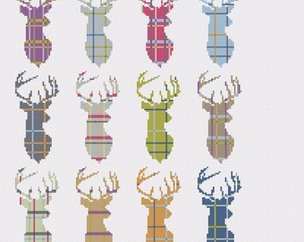 Tartan Stag Multi Cross Stitch Pattern - PDF Only - Instant Download