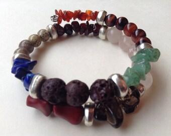 Mixed gem stone bracelet