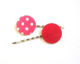 Red Pink hair pins, Button hair pins, Cord hair pins, Fabric button pins, Dotted barrette, Red barrette, Pinup Girl hair pins, Winter pins