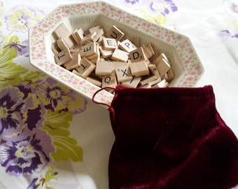 Bag of Wooden Scrabble Game Pieces for Crafting