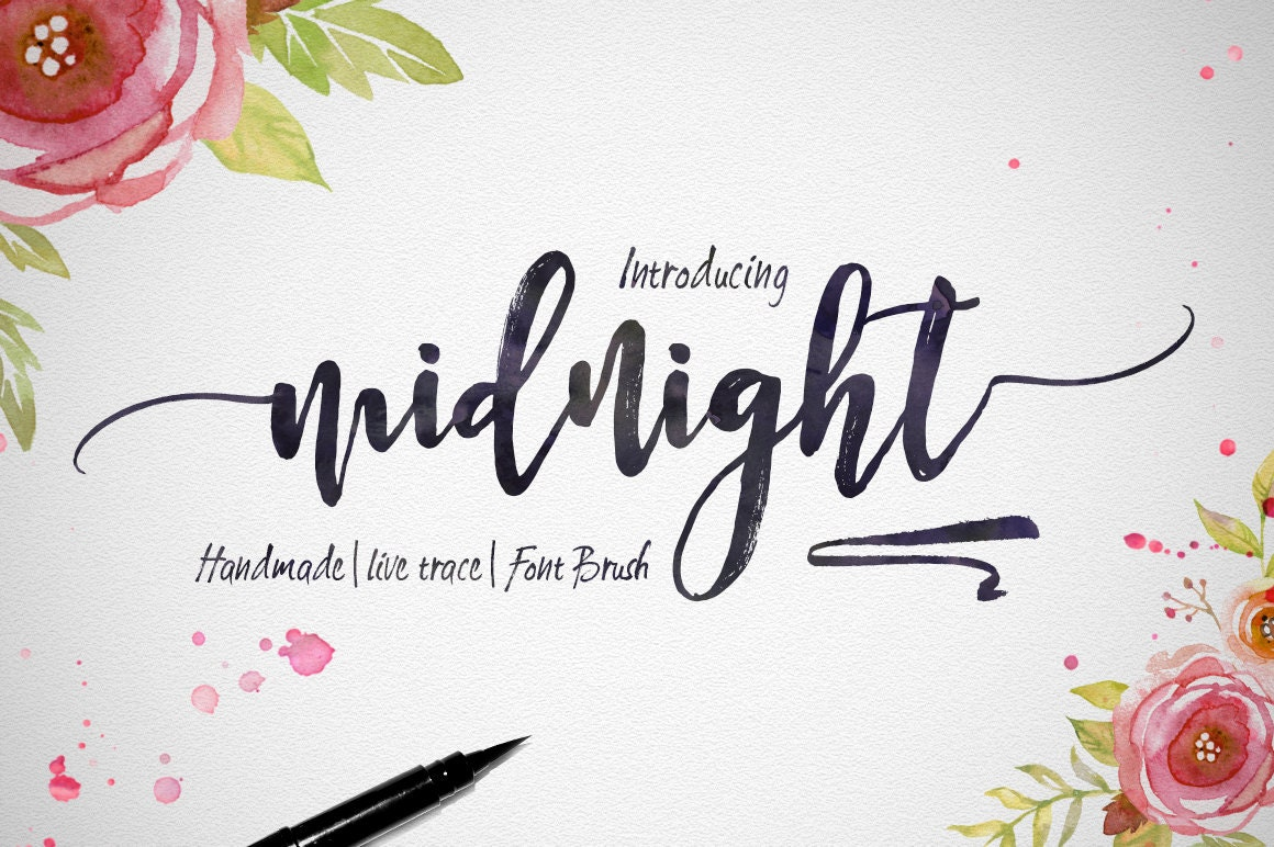 Digital fonts for dollar handwritten and watercolor