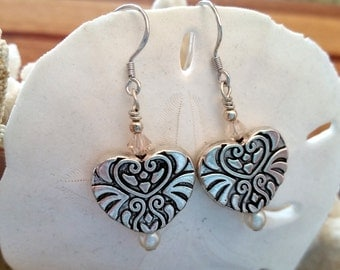 Silver heart earrings with light pink crystal, pearl and silver accents