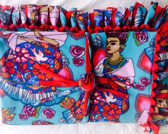 Fleece Blanket/Throw, Folk Art, Frida Kahlo, No Sew, Tie Blanket