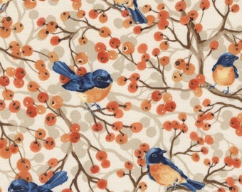 timeless treasures toccata orange birds blue branches trees aisian fabric - sold by the yard