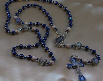 Deep Blue Glass Pearl, Crystal and Silver, Hand Beaded Rosary