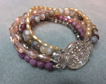 Five Strand Czech Plum, Pearl, Crystal, Peach Beads and Agate Beads.