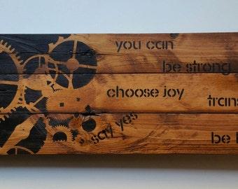 Inspirational Gears, Reclaimed Barn Wood Sign