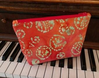 Pink, Orange, and Sage green Batik Zippered pouch