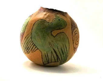 Bird and Tri Spiral Hand Woodburned Decorative Gourd Bowl