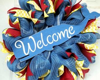 welcome wreath, whale wreath, blue wreath, beach wreath, nautical wreath, coastal wreath, ribbon wreath, jute wreath, mesh wreath, whale,