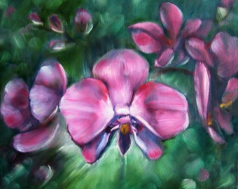 "OIl painting ""Night Orchidea"""