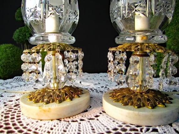 Vintage Hollywood Regency Lamps Crystal Gold Brass Italian