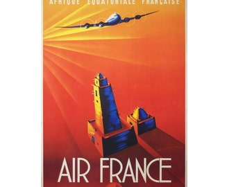 Afrique Air France Canvas French Travel Poster Giclee Art Print Gallery Wrapped