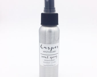 Warm Chai Room and Body Spray / Essential Oil Spray / Room Freshener / Essential Oils / Fall Scent / Air Freshener / Odor Eliminating Spray