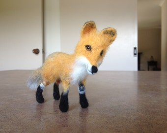 SOLD Felt toy fox, felt natural wool toy, tiny soft sculpture miniature fox, needle felted foxy