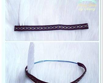 Blue and black feather headband