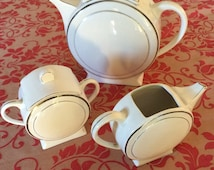 Cafe tea Art-Deco set limoges porcelain Rhodenia France. 1920's-1940's. Teapot plus creamer plus sugar bowl.