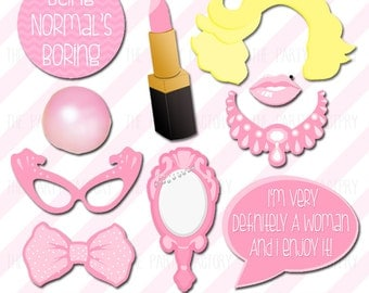 Marilyn Monroe Birthday Photo Booth Props, Instant download, Printables