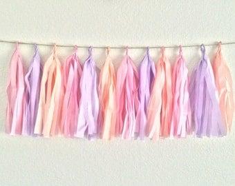 Peach, Purple & Pink Tassel Garland