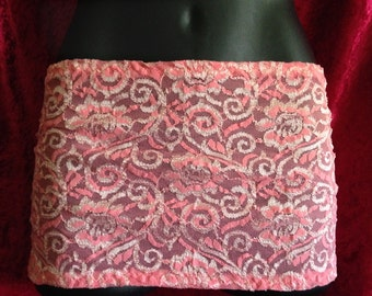 Peach Lace, Mini skirt, Tube Top, SeXy, Bikini or thong, Cover-up, Resort, belt for dress makeover, X Large, It's Not a skirt it's a belt!