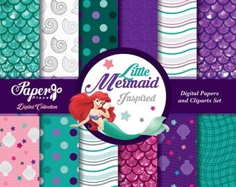 Little Mermaid Digital Scrapbook Paper and Cliparts set, Pink Purple Aqua Turquose Digital Paper, Patterns, Chevron, Glitter