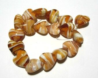 1 Strand Handmade Lampwork Heart Beads 20mm Caramel/White (B11f)