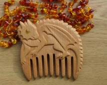 Wooden comb Christmas gift for teen gift xmas Dragon jewelry Smaug kids gift for daughter Handmade comb  For witch mother of dragons gift