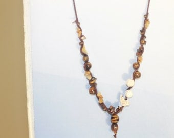 beaded necklace, brown tiger eye
