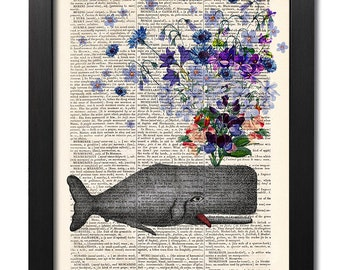 Whale with flowers, Whale print, Flower print, Art print, Illustration print, Book page print, Dictionary art, Love print [ART 162]