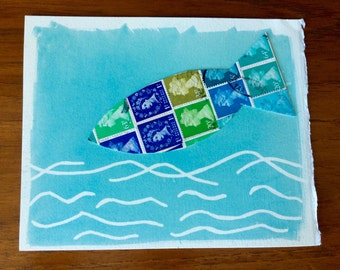 Stamp collage fish theme