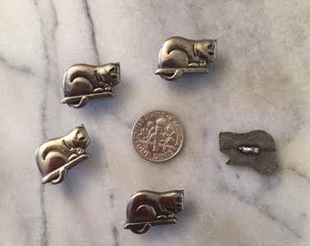 Metal Cat Shank Button set of 3