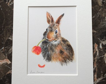 Bunny with tulip print. Trouble, bunny print, rabbit print, woodland decor, bunny art, rabbit art, giclee bunny print, realism art, nature
