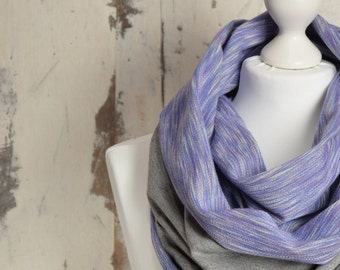Spring Infinity Scarf with Raw Edges, Double-sided, Grey and Violet Snood, Double Loop, AtelierWhiteMouse