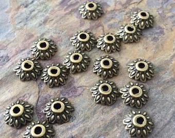 10 Brass Bead Caps 8x2.5mm