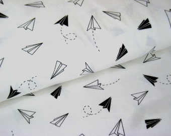 White Cotton Jersey with paper planes