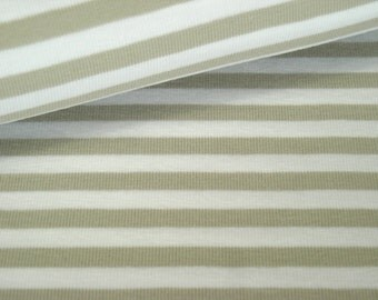 Cotton striped Jersey beige-white 6 mm