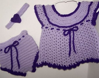 101-052BD Lilac / Purple Crocheted Dress with Diaper Cover & Headband