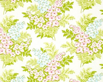 Heather Bailey Nicey Jane Picnic Bouquet in Cream Fabric - Spring Fabric by the Yard - Floral Fabric - Pink Blue Green - Shabby Chic Fabric