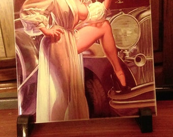 Vintage Erotica Art Ceramic Tile Pin-Up