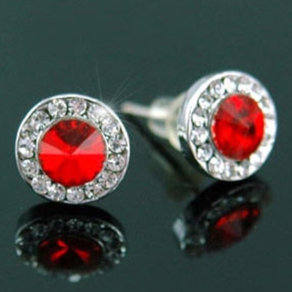 Red, Earrings, Medium Size, Lux