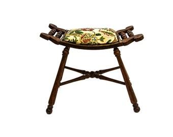 Antique Needlepoint Saddle Seat Vanity Stool