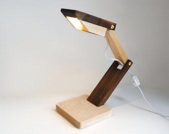 Walnut and Maple Wedge Desk/Bedside Lamp