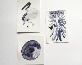 Set of 3 Original Watercolor Paintings | Triptych Watercolor Illustrations | Bird, Moon, and Pineapple Watercolor Paintings