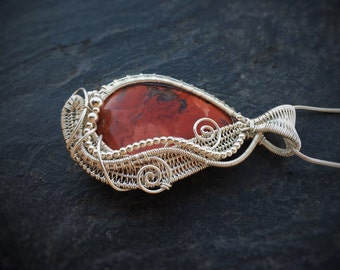 Red Jasper wrapped in Sterling Silver